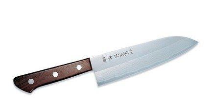 Поварской японский нож Сантоку Western Knife, 17 смНожи Сантоку<br>Нож азиатского типа с широким лезвием и особенно острой режущей кромкой. Ножи сантоку универсальны в использовании, и могут применяться для нарезки мяса, рыбы или овощей.<br><br>Серия: Western Knife
