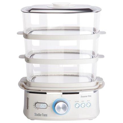 Пароварка Steamer OneПароварки<br>Пароварка Steamer One с привлекательным современным корпусом из качественного пластика поможет даже повару-новичку приготовить вкусные и полезные блюда в кратчайшие сроки и с минимальными усилиями. Три вместительные корзины для продуктов и чаша для риса позволяют готовить продукты больших объемов целиком. Благодаря нескольким программам для приготовления овощей, мяса, рыбы, птицы, круп, морепродуктов и блюд из яиц вы сможете приготовить не только семейный обед, но и праздничное застолье для гостей. Пароварка оборудована закрытым нагревательным элементом, который не контактирует с водой и не портится от накипи. Электронный тип управления делает пароварку более функциональной. Индикатор уровня воды контролирует наполненность резервуара, который можно пополнить через специальный обод для подлива. Благодаря сенсорному дисплею и регулятору Shuttle пароварка «слушается» даже легких прикосновений. Режим «Быстрый старт» начинает приготовление блюд через полминуты после включения, экономя тем самым ваше время. Функция «Автоприготовление» выбирает время приготовления самостоятельно, исходя из типа блюда и его массы. Режим «Термостат» поддерживает готовое блюдо в теплом состоянии.     Характеристики:   Мощность: 2000 Вт  Общий объем паровых корзин: 11 литров  Объем резервуара для воды: 1.2 л  Электронное управление  Таймер  Автоприготовление  7 программ  Термостат  Режим «Быстрый пар»<br>