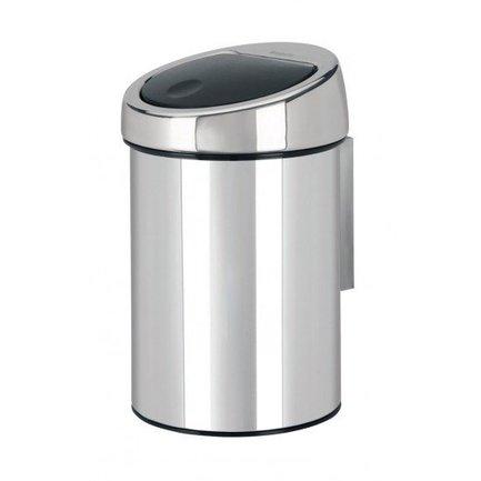 Ведро для мусора Touch Bin (3 л), 18.5х28 см, стальное полированноеМусорные ведра<br>Бак для сбора мусора Brabantia Touch Bin хорошо подходит для туалета и ванной комнаты. Его главная особенность в том, что чтобы воспользоваться мусорным ведром, не нужно снимать его крышку руками. Благодаря уникальной системе Soft-Touch нажатием одной кнопки крышка бака открывается и закрывается – бесшумно и легко. С этой запатентованной системой пользование мусорным баком становится намного комфортнее. Корпус и крышка бака изготовлены из нержавеющей стали. Внутри есть съемное пластиковое ведро – практичное, износостойкое и хорошо моется. В ведро вставляется пластиковый мусорный пакет (подходит размер А), который удобно вставлять и вынимать благодаря тому, что крышка легко снимается с бака. Корзину для мусора Touch Bin можно ставить на любое напольное покрытие, на дне бака есть пластиковый защитный обод, который защищает пол от царапин. Также бак можно прикрепить на кронштейн к стене. Кронштейн из нержавеющей стали поставляется в комплекте.<br><br>Серия: Touch Bin