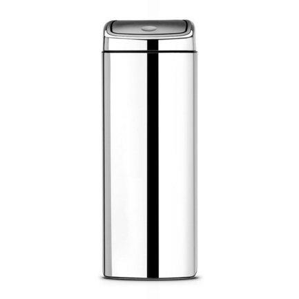 Мусорный бак Touch Bin прямоугольный (25 л), 72.5х26.5х26.5 см, стальной полированныйМусорные баки<br>Высокий и вместительный мусорный бак Brabantia Touch Bin выглядит очень стильно. Дизайн бака позволяет ему не прятаться укромно в уголке, а занять любое удобное для вас место на кухне дома или в кабинете офиса. Эта модель не только красива, но и практична. Корпус изготовлен из нержавеющей стали. Благодаря системе Soft-Touch пользоваться баком удобно: легким движение руки вы мягко и бесшумно откроете и закроете его крышку. Внутри бака устанавливается съемное пластиковое ведро, на которое надевается мусорный мешок. Для этой модели подходят мешки размера G. В корпусе съемного ведра есть специальные отверстия для вентиляции, и полный пакет с мусором благодаря этим отверстиям вынимается из ведра без образования вакуума.<br><br>Серия: Touch Bin