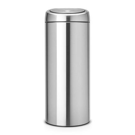 Мусорный бак Touch Bin (30 л), 31х72.5 см, матовый стальной, с защитой от отпечатков пальцевМусорные баки<br>Высокий и вместительный мусорный бак Brabantia Touch Bin выглядит очень стильно. Дизайн бака позволяет ему не прятаться укромно в уголке, а занять любое удобное для вас место на кухне дома или в кабинете офиса. Эта модель не только красива, но и практична. Корпус изготовлен из нержавеющей стали с матовой полировкой с защитой от отпечатков пальцев. Благодаря системе Soft-Touch пользоваться баком удобно: легким движение руки вы мягко и бесшумно откроете и закроете крышку. У этой модели есть защитное основание из пластмассы, благодаря которому стальной корпус не царапает пол. Внутри бака устанавливается съемное пластиковое ведро, на которое надевается мусорный мешок. Для этой модели подходят мешки размера G. В корпусе съемного ведра есть специальные отверстия для вентиляции, и полный пакет с мусором благодаря этим отверстиям вынимается из ведра без образования вакуума.<br><br>Серия: Touch Bin