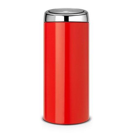 Мусорный бак Touch Bin (30 л), 31х72.5 см, красныйМусорные баки<br>Высокий и вместительный мусорный бак Brabantia Touch Bin выглядит очень стильно. Дизайн бака позволяет ему не прятаться укромно в уголке, а занять любое удобное для вас место на кухне дома или в кабинете офиса. Эта модель не только красива, но и практична. Корпус изготовлен из нержавеющей стали и выкрашен в красный цвет. Благодаря системе Soft-Touch пользоваться баком удобно: легким движение руки вы мягко и бесшумно откроете и закроете крышку. У этой модели есть защитное основание из пластмассы, благодаря которому стальной корпус не царапает пол. Внутри бака устанавливается съемное пластиковое ведро, на которое надевается мусорный мешок. Для этой модели подходят мешки размера G. В корпусе съемного ведра есть специальные отверстия для вентиляции, и полный пакет с мусором благодаря этим отверстиям вынимается из ведра без образования вакуума.<br><br>Серия: Touch Bin