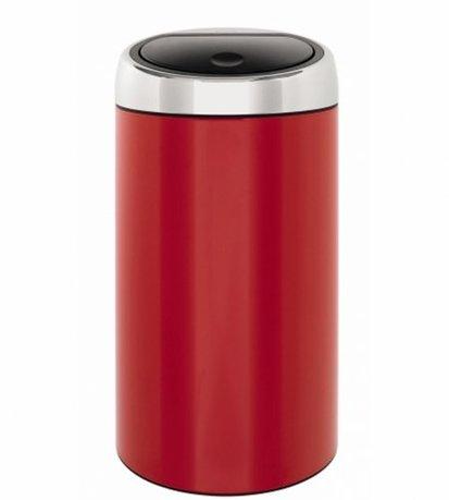 Мусорный бак Touch Bin (45 л), 37х75.5 см, красныйМусорные баки<br>Вместительный мусорный бак Brabantia Touch Bin выглядит элегантно. Дизайн бака позволяет ему не прятаться укромно в уголке, а занять любое удобное для вас место на кухне дома или в другом помещении. Эта модель не только красива, но и практична. Корпус изготовлен из нержавеющей стали красного цвета. Благодаря системе Soft-Touch пользоваться баком удобно: легким движение руки вы мягко и бесшумно откроете и закроете крышку. У этой модели есть защитное основание из пластмассы, благодаря которому стальной корпус не царапает пол. Внутри бака устанавливается съемное пластиковое ведро, на которое надевается мусорный мешок. Для этой модели подходят мешки размера L. В корпусе съемного ведра есть специальные отверстия для вентиляции, и полный пакет с мусором благодаря этим отверстиям вынимается из ведра без образования вакуума.<br><br>Серия: Touch Bin