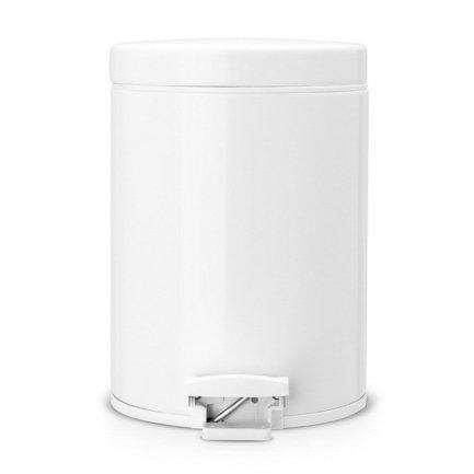 Ведро для мусора с педалью (5 л), 20.5х28.8х20.5х28см, с металлическим ведром, белоеМусорные ведра<br>Стильный мусорный бак с педалью компактен и практичен. Его объема – 5 литров – достаточно для ежедневного сбора мусора в туалете и ванной комнате. Корпус бака изготовлен из качественных материалов, устойчивых к появлению ржавчины. Это именно то, что нужно для сбора мусора в условиях повышенной влажности в помещении. Внутрь бака вставляется металлическое ведро, на которое надевается мусорный пакет размером B. Съемное ведро легко содержать в чистоте: оно удобно вынимается и моется. На дне бака есть специальное пластиковое кольцо, благодаря чему металлический корпус не царапает пол и стоит очень устойчиво даже на мокром покрытии. Эта модель оснащена надежной педалью, изготовленной из антикоррозийных материалов, и прочной ручкой для переноски. На баке установлена металлическая крышка, она не пропускает запах, легко и тихо открывается и закрывается нажатием педали.<br><br>Серия: Pedal Bin