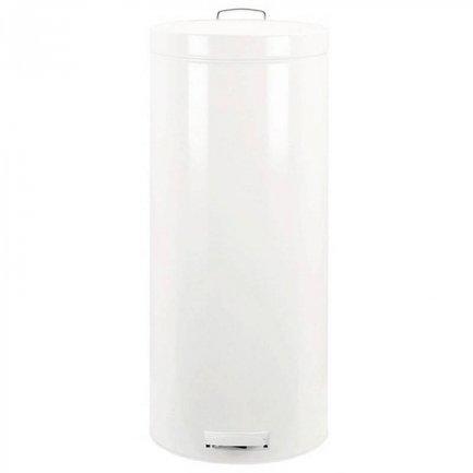 Мусорный бак с педалью (30 л), 66х29.5х39.5 см, белыйРаспродажа<br>Объемный 30-литровый бак с крышкой и педалью хорошо подходит для сбора мусора дома или в офисе. Эта модель отличается практичностью. Бак вместителен, но вместе с этим, довольно компактен. Его корпус, изготовленный из гальванизированной стали, долговечен и имеет практичную форму. Крышка бака откидывается нажатием педали, и так же закрывается. Открывая бак вручную, вы сможете зафиксировать крышку в нужном положении. Крышка бака не пропускает запахи и закрывается тихо. Внутри контейнера есть съемное ведро, на которое надевается мусорный пакет. Для этой модели подходят пакеты размера G. Ведро легко вынимается, оно изготовлено из прочного пластика и нем есть специальные отверстия для вентиляции. Благодаря этим отверстиям вы сможете вынуть из бака даже полный мусора пакет, в контейнере не возникнет эффект вакуума. В основании бака есть пластиковая защита, благодаря которой металлический контейнер аккуратно ставится и защищает пол от появления царапин. При необходимости контейнер можно передвинуть или перенести за прочную боковую ручку.<br><br>Серия: Pedal Bin