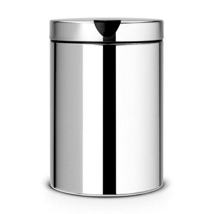 Мусорный бак настенный (3 л), 25х16.8х22.6 см, стальной полированный