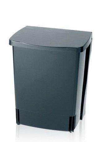 Ведро для мусора квадратное (10 л) встраиваемое, 32.8х25.2х21 см, черноеМусорные ведра<br>Встраиваемый мусорный бак квадратной формы очень удобен для сбора мусора на вашей кухне. Пластиковый 10-литровый контейнер специальной подставкой крепится к дверце кухонного шкафа. При любой необходимости его можно вынуть из подставки и поставить на место. Мусорный бак изготовлен из прочных и долговечных материалов, устойчивых к появлению коррозии, поэтому он отлично выдерживает использование даже в помещениях с повышенной влажностью. Для этого контейнера подходят мусорные пакеты размера С.<br><br>Серия: Built-in Bin