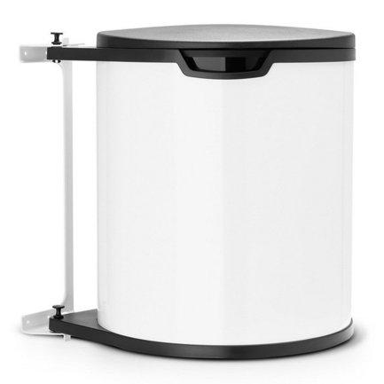 Ведро для мусора (15 л) встраиваемое, 30.2х34.7х29.3х30 см, белоеМусорные ведра<br>Это мусорное ведро может аккуратно спрятаться в вашем кухонном шкафчике. Оно компактное, но довольно вместительное. Контейнер легко крепится к двери любого шкафа, как для левой, так и для правой. Конструкция его хорошо продумана, что делает пользование мусорным ведром очень удобным. Так, крышка контейнера автоматически открывается, когда открывается дверца, и сама закрывается при закрытии дверцы. При необходимости вы можете открыть крышку еще больше, например, чтобы вынуть пакет с мусором. Для этой модели подходят пакеты размеры D. Мусорный бак изготовлен из практичных и износостойких материалов, которым не страшны появления пятен ржавчины. Внутри бака установлено съемное пластиковое ведро, которое легко вынимается.<br>