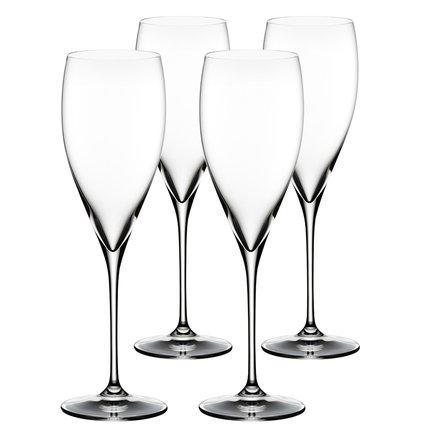 Набор бокалов для шампанского 3-Get 4 Champagne (405 мл), 4 шт.Бокалы для шампанского<br>Объем бокала 405 мл, высота 25 см. Высокий бокал тюльпанообразной и вытянутой формы помогает шампанскому проявить свой утонченный аромат. Благодаря сужающейся кверху чаше именно в таком бокале концентрируется уникальная смесь ароматов этого вина. Пузырьки приятно подчеркивается мягкую структуру шампанского.<br><br>Серия: Vinum XL