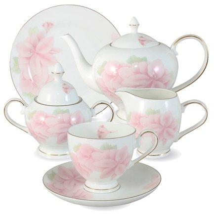 Чайный сервиз Розовые цветы на 6 персон, 21 пр.