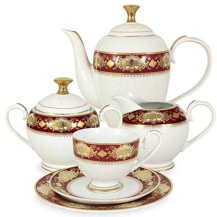 Чайный сервиз Жаклин на 6 персон, 23 пр.Чайные сервизы<br><br><br>Серия: Жаклин<br>Состав: Чашка (0.2 л) - 6 шт., Блюдце - 6 шт., Тарелка, 19 см - 6 шт., Чайник (1.5 л) с крышкой, Сахарница (0.35 л) с крышкой, Сливочник (0.3 л)