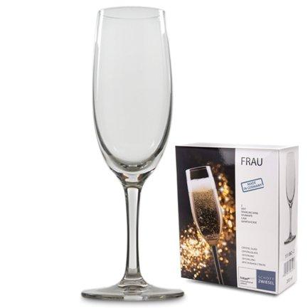 Набор бокалов для шампанского Frau (200 мл), 2 шт.Бар и стекло<br>Тонкий и высокий бокал типа флюте предназначен для шампанских и игристых вин. Фужеры из этого набора удобно держать за длинную ножку, не касаясь чаши и не согревая ее. Это позволяет дольше наслаждаться охлажденным шампанским. Вытянутая форма бокала позволяет вину полностью раскрыться и образовать красивую пенистую шапку. Благодаря узкому горлышку пузырьки из этого благородного напитка не исчезают слишком быстро.<br><br>Серия: Frau