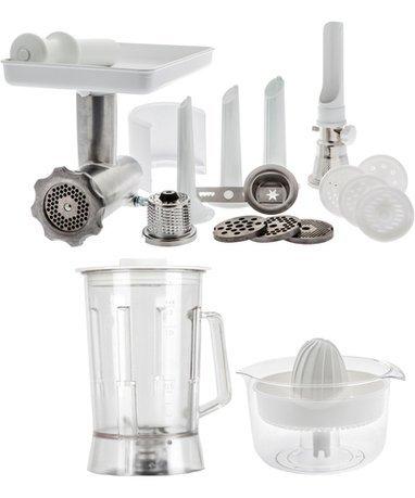 Комплект насадок к комбайнам DeLUX PackageНасадки и Аксессуары<br>Комплект насадок Делюкс превратит ваш кухонных комбайн Ankarsrum в универсальную машину, которая выполняет все кухонные операции. В этом комплекте вы найдете все необходимые насадки, которые помогают взбивать коктейли, измельчать кофе и зерно, выжимать сок, перемалывать мясо в фарш, натирать сыр, пюрировать овощи и фрукты, готовить пасту и формировать печенье. Насадки, которые входят в набор, изготовлены из качественных материалов, практичны и долговечны. Дополните ваш комбайн Ankarsrum комплектом насадок Делюкс, и с ним многие кухонные приборы будут не нужны.<br><br>Состав: Блендер (1.7 л) из ударопрочного пластика, Мясорубка, Соковыжималка для цитрусовых, Насадка для пюре и джема, Насадка-терка, Насадка для формирования печенья, Насадка для наполнения колбас, Насадк...