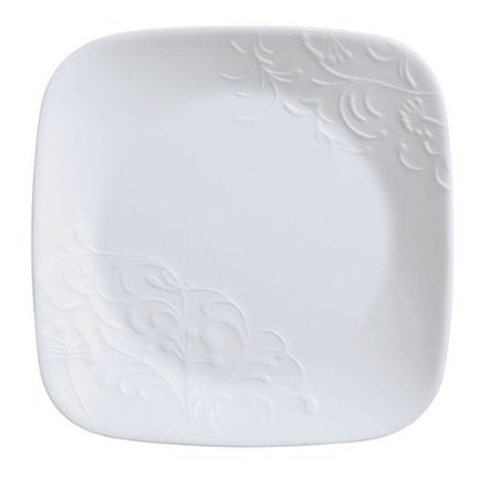 Тарелка закусочная Cherish, 22x22x2 см, стекло, белый