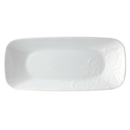 Тарелка сервировочная прямоугольная Cherish, 26.5x12x2.5 см, стекло, белый