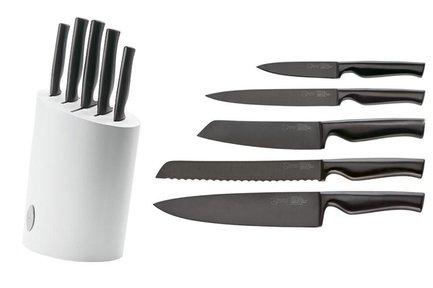 Набор ножей, 6 пр.Наборы ножей<br>Набор кухонных ножей - отличный подарок как для начинающих кулинаров, так и профессиональных поваров. В него входит основные виды ножей из качественной стали, с помощью которых вы сможете приготовить блюда любой сложности. Ножи продаются в красивой подставке из натурального бука.<br><br>Серия: Virtublack<br>Состав: Нож для овощей, 10 см, Нож для овощей, 14 см, Нож универсальный, 18 см, Нож для хлеба, 20.5 см, Поварской нож, 20.5 см, Подставка для ножей