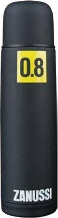 Термос с металлической колбой Cervinia (0.8 л), черныйТермосы<br>Стильный термос, в котором ваш напиток останется горячим на протяжении 12 часов. Благодаря прорезиненному покрытию, удобно лежит в руке, не выскальзывая. Крышка является также удобной кружкой.<br><br>Серия: Cervinia