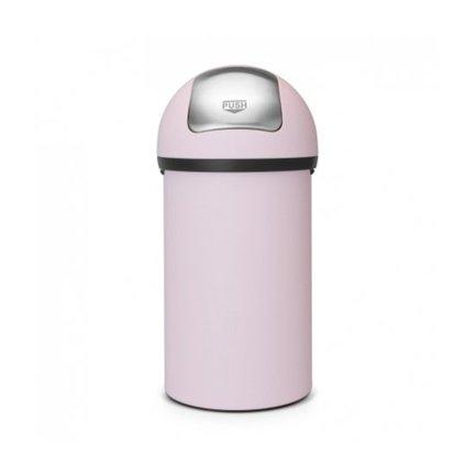Мусорный бак с нажимной крышкой (60 л), 40х82 см, нержавеющая сталь, розовый