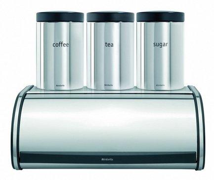 Набор из хлебницы с 3-мя контейнерамиХлебницы<br>Невероятно стильный и элегантный набор, который станет украшением любой кухни. В него входит изящная стальная хлебница с плоским верхом, на который компактно устанавливаются три привлекательных контейнера с маркировкой «чай», «кофе», «сахар».<br>