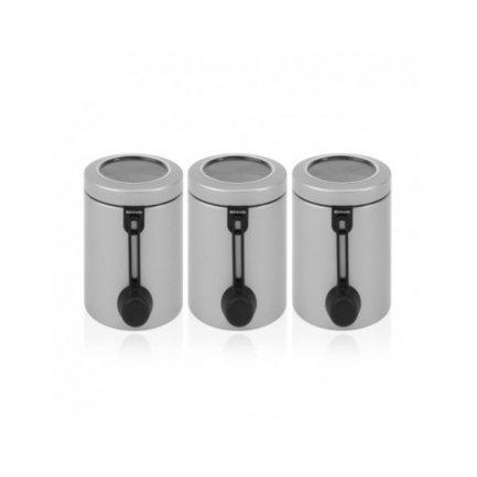 Набор контейнеров с ложкой (1.4 л), 3 пр.Банки для сыпучих<br>В набор входит три контейнера из нержавеющей стали для хранения сыпучих продуктов (сахара, муки, круп, чая, кофе). К каждой емкости в комплекте идет мерная ложечка на магните. Контейнеры выполнены в стильном элегантном дизайне и будут отлично смотреться в интерьере любой кухни.<br>