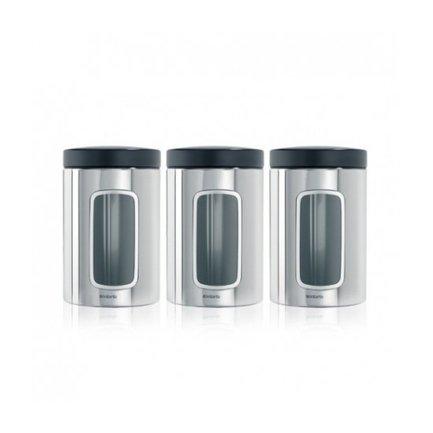 Набор контейнеров с окном (1.4 л), 3 пр.Банки для сыпучих<br>В набор входит три контейнера разного объема для хранения сыпучих продуктов (сахара, муки, круп, чая, кофе). Благодаря удобному окошку вы всегда будете знать, где что находится. Контейнеры выполнены из стали в элегантном дизайне и будут отлично смотреться в интерьере любой кухни.<br>
