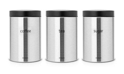 Набор контейнеров (1.4 л), 3 пр.Банки для сыпучих<br>В набор входит три контейнера разного объема для хранения сыпучих продуктов (сахара, муки, круп, чая, кофе). Благодаря удобному окошку вы всегда будете знать, где что находится. Контейнеры выполнены из стали в элегантном дизайне и будут отлично смотреться в интерьере любой кухни.<br>