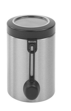 Контейнер с ложкой (1.4 л)Банки для сыпучих<br>Вместительный контейнера из нержавеющей стали отлично подходит для хранения сыпучих продуктов (сахара, муки, круп, чая, кофе). К емкости в комплекте идет мерная ложечка на магните. Контейнер выполнен в стильном элегантном дизайне и будет отлично смотреться в интерьере любой кухни.<br>