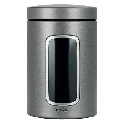 Контейнер для сыпучих продуктов с окном (1.4 л)Контейнеры<br>В этом элегантном стальном контейнере можно хранить любые сыпучие продукты, а также сухофрукты, орехи, печенье. В специальном прозрачном окошке вы всегда сможете увидеть содержимое емкости. Изготовлена из стали высокого качества, без проблем моется в посудомоечной машине.<br>