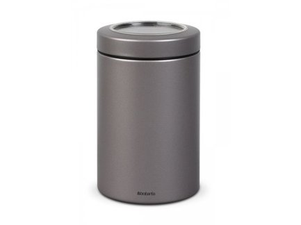Контейнер с прозрачной крышкой (1.4 л)Контейнеры<br>В этом стильном стальном контейнере можно хранить любые сыпучие продукты, а также сухофрукты, орехи, печенье. Контейнер герметично закрывается прозрачной крышкой, которая защищает содержимое от влаги и посторонних запахов.<br>