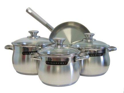 Набор посуды Роял Сатин, 4 пр.Наборы кастрюль<br>Этот стильный набор, состоящий из трех практичных кастрюль и удобной сковороды, пригодится в каждом доме. С ним вы сможете готовить к обеду или ужину несколько блюд одновременно. Вся утварь изготовлена из качественной нержавеющей стали. Можно мыть в посудомоечной машине.<br><br>Серия: Роял Сатин<br>Состав: Кастрюля с крышкой (2.2 л), 16 см, Кастрюля с крышкой (3.1 л), 18 см, Кастрюля с крышкой (4.1 л), 20 см, Сковорода с крышкой, 24 см