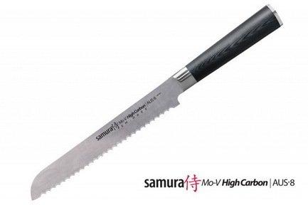 Нож для хлеба Samura Mo-V, 32 см, длина лезвия 20 см, вес 309 г