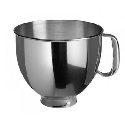 Чаша с ручкой стальная (4.83 л)Насадки и Аксессуары<br>Удобная чаша из высококачественной нержавеющей стали понадобится, если вы готовите сразу несколько блюд. С дополнительной чашей вы сможете обработать больше продуктов с помощью планетарного миксера или выполнить несколько операций. Например, в основной чаше вы сможете замесить тесто, а в дополнительной – взбить крем. Чаша на небольшой «ножке» очень устойчива, ее можно мыть в посудомоечной машине и компактно хранить в стандартной чаше большего объема.<br>