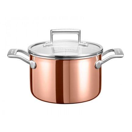 Медная кастрюля для соуса (2.84 л), 18 см, 3-х слойнаяПосуда<br><br><br>Серия: Cookware