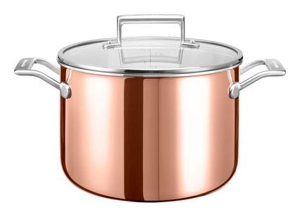 Медная кастрюля с крышкой (7.57 л), 24 см, 3-х слойнаяКастрюли<br><br><br>Серия: Cookware