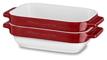 Набор прямоугольных чаш для запекания (0.45 л), 2 шт., красные