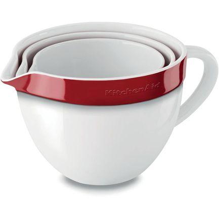 Набор круглых чаш для запекания, смешивания (1.4 л, 1.9 л, 2.8 л), 3 шт., красные