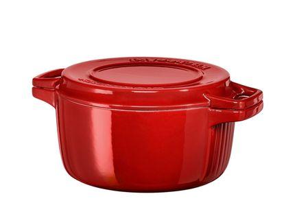 Чугунная кастрюля (3.77 л), 24 см, красная KitchenAid KCPI40CRER
