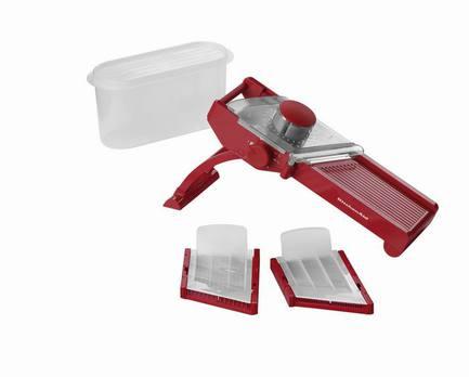 Мандолина, красная, 9 пр.Терки и Слайсеры<br><br><br>Серия: Gadgets &amp; Utensils<br>Состав: Нож - 3 шт., Чаша с крышкой - 4 шт., Контейнер для хранения ножей - 1 шт., Подставка - 1 шт.