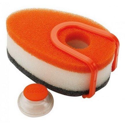 Набор губок с капсулой для моющего стредства Soapy Sponge, 3 шт., 12х4.5х7 см, оранжевый