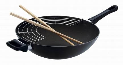 Сковорода-вок с палочками и решеткой, 28 см, черная