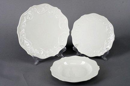 Набор тарелок Камея на 6 персон, 18 пр., белые