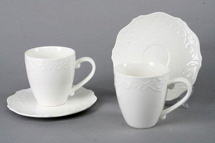 Набор чашек Камея на 2 персоны, 4 пр., белые