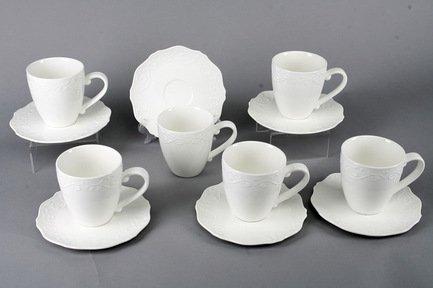 Набор чашек Камея на 6 персон, 12 пр., белые