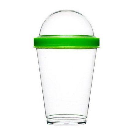 Кружка для йогурта (240 мл), 9х15 см, с крышкой-контейнером (40 мл), прозрачная/зеленая Sagaform 5016699