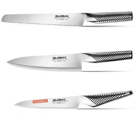 Набор ножей Global, 3 пр. (GS-11 &amp; G-2 &amp; G-9)Кухонные ножи<br><br><br>Серия: Global<br>Состав: Нож универсальный гибкий Global Small, 15 см - 1 шт., Нож поварской Global, 20 см - 1 шт., Нож для хлеба Global, 22 см - 1 шт.