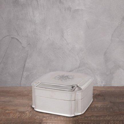 Емкость с крышкой, 13x13x7 см, серебряная