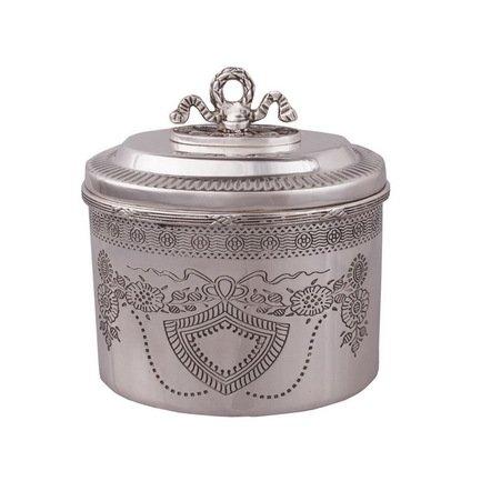 Емкость с крышкой, 13x11x13 см, серебряная