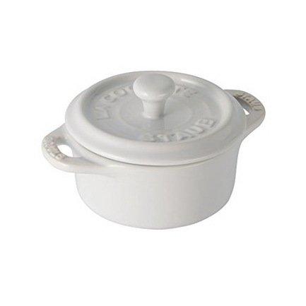 Мини-кокот круглый керамический, 10 см, белый
