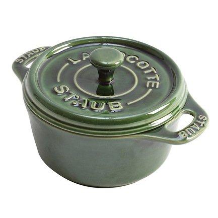 Мини-кокот круглый керамический, 10 см, зеленый базилик