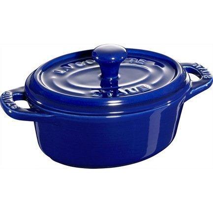 Мини-кокот овальный керамический, 11 см, темно-синий